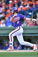 Clemson Tigers second baseman Weston Wilson (8) swings at a pitch during a game against the South Carolina Gamecocks at Fluor Field on March 5, 2016 in Greenville, South Carolina. The Tigers defeated the Gamecocks 5-0. (Tony Farlow/Four Seam Images)