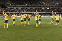 MELBOURNE, 11 JUNE 2013 - Australian players celebrate the goal by Lucas NEILL in a Round 4 FIFA 2014 World Cup qualifier match between Australia and Jordan at Etihad Stadium, Melbourne, Australia. Photo Sydney Low for Zumapress Inc. Please visit zumapress.com for editorial licensing. *This image is NOT FOR SALE via this web site.