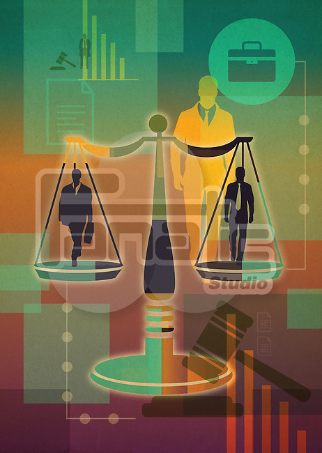 Illustrative collage of business people in scales representing legal issue