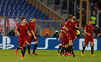Roma s Stephan El Shaarawy, left, celebrates with his teammates after scoring during the Champions League Group C soccer match between Roma and Chelsea at Rome's Olympic stadium, October 31, 2017.<br /> UPDATE IMAGES PRESS/Riccardo De Luca