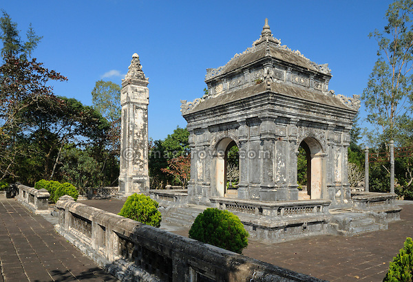Asia, Vietnam, Hue. Stele and pavillion at the royal tomb of Dong Khanh. Designated a UNESCO World Heritage Site in 1993, Hue is honoured for its complex of historic monuments. Seven royal tombs are scattered across the scenic countryside to the south of Hue. The smallest of all Nguyen tombs is the well-preserved mausoleum of Dong Khanh.