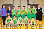 U14 Gneeveguilla basketball team who played St Brendans, Tralee in Moyderwell ,Gym Tralee last Wednesday in a county league match<br /> Front L-R Paudie Murphy, P&aacute;raic Finnigan, Jim Brosnan, Damian&amp;Mark Cronin, Back L-R Eilish Finnigan, Joan O'Mahony, Danial Collins, Alex Miltailous, Jake Fleming, Ronan Collins, Damian O'Halloran and Jim Hughes