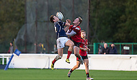 Jason Harries of London Scottish goes up for the ball during the Greene King IPA Championship match between London Scottish Football Club and Jersey at Richmond Athletic Ground, Richmond, United Kingdom on 7 November 2015. Photo by Andy Rowland.