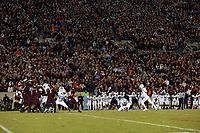 BLACKSBURG, VA - OCTOBER 19: Noah Ruggles #97 of the University of North Carolina attempts a field goal during the third overtime during a game between North Carolina and Virginia Tech at Lane Stadium on October 19, 2019 in Blacksburg, Virginia.