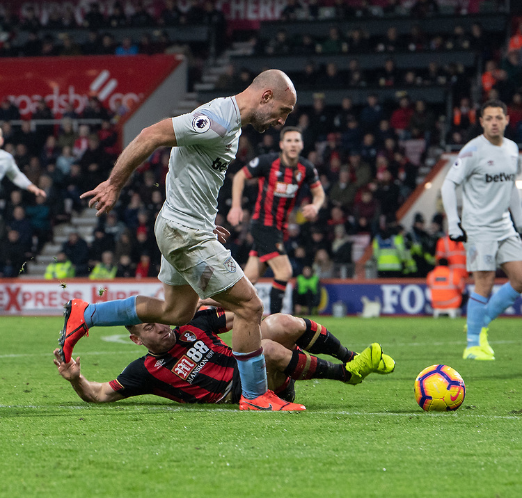 West Ham United's Pablo Zabaleta (left)  holds off the challenge from Bournemouth's Ryan Fraser (right) <br /> <br /> Photographer David Horton/CameraSport<br /> <br /> The Premier League - Bournemouth v West Ham United - Saturday 19 January 2019 - Vitality Stadium - Bournemouth<br /> <br /> World Copyright &copy; 2019 CameraSport. All rights reserved. 43 Linden Ave. Countesthorpe. Leicester. England. LE8 5PG - Tel: +44 (0) 116 277 4147 - admin@camerasport.com - www.camerasport.com