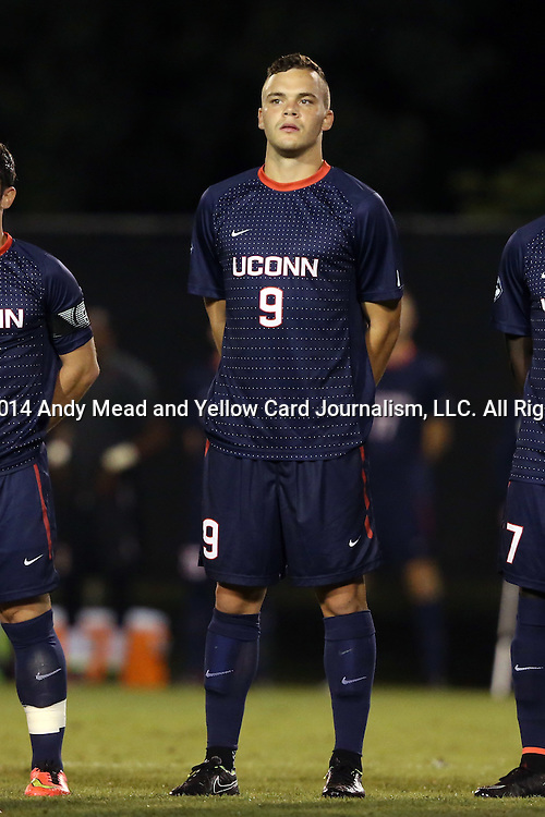 05 September 2014: Connecticut's Ethan Vanacore-Decker. The Wake Forest University Demon Deacons hosted the University of Connecticut Huskies at W. Dennie Spry Soccer Stadium in Winston-Salem, North Carolina in a 2014 NCAA Division I Men's Soccer match. Wake Forest won the game 2-1 in sudden death overtime.