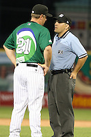 Erie Seawolves Manager Phil Nevin argues a call with umpire Karl Best during a game vs. the Trenton Thunder at Jerry Uht Park in Erie, Pennsylvania;  June 23, 2010.   Trenton defeated Erie 12-7  Photo By Mike Janes/Four Seam Images