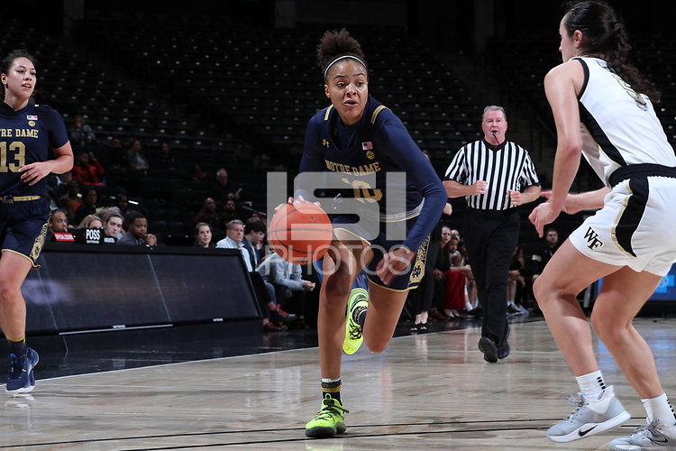 WINSTON-SALEM, NC - FEBRUARY 06: Katlyn Gilbert #10 of the University of Notre Dame drives towards the basket during a game between Notre Dame and Wake Forest at Lawrence Joel Veterans Memorial Coliseum on February 06, 2020 in Winston-Salem, North Carolina.