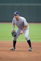 Wilmington Blue Rocks first baseman Ryan O'Hearn (32) on defense against the Winston-Salem Dash at BB&T Ballpark on July 29, 2015 in Winston-Salem, North Carolina.  The Dash defeated the Blue Rocks 5-4 in game one of a double-header.  (Brian Westerholt/Four Seam Images)