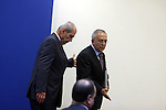 Palestinian Prime Minster Salam Fayyad, and his Jordanian counterpart Fayez al-Tarawneh at Fayyad's office in the West Bank city of Ramallah, 04 October 2012. Photo by Issam Rimawi
