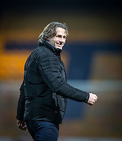 Wycombe Wanderers Manager Gareth Ainsworth celebrates his teams win with supporters during the The Checkatrade Trophy  Quarter Final match between Mansfield Town and Wycombe Wanderers at the One Call Stadium, Mansfield, England on 24 January 2017. Photo by Andy Rowland.