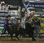 Matt Werries from Jacksonville, IL rides Bad Blood during the Built FordTough Series Copenhagen Bull Riding Invitational in Reno, Nevada on Saturday night Sept. 12th.  Photo by Tom Smedes.