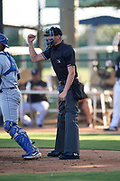 Home plate umpire Chase Eubanks calls a strike on a batter during an Arizona League game between the AZL White Sox and the AZL Royals at Camelback Ranch on June 19, 2019 in Glendale, Arizona. AZL White Sox defeated AZL Royals 4-2. (Zachary Lucy/Four Seam Images)