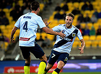 CCM's Andrew Hoole celebrates his goal during the A-League football match between Wellington Phoenix and Central Coast Mariners at Westpac Stadium in Wellington, New Zealand on Saturday, 25 November 2017. Photo: Dave Lintott / lintottphoto.co.nz