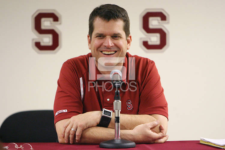 25 February 2008: Jim Harbaugh addresses the media during the spring practice press conference at Maples Pavilion in Stanford, CA.