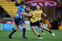 Hurricanes&rsquo; Brad Shields and Blues' Michael Collins in action during the Super Rugby - Hurricanes v Blues at Westpac Stadium, Wellington, New Zealand on Saturday 7 July 2018.<br /> Photo by Masanori Udagawa. <br /> www.photowellington.photoshelter.com