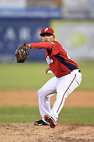 Potomac Nationals pitcher Gilberto Mendez (40) delivers a pitch during a game against the Lynchburg Hillcats on April 26, 2014 at Pfitzner Stadium in Woodbridge, Virginia.  Potomac defeated Lynchburg 6-2.  (Mike Janes/Four Seam Images)