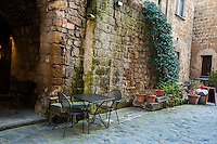Tables, trellis and planters in Civita