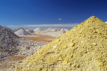 """Dumps"" or tailings left from opal mining. Coober Pedy, South Australia"