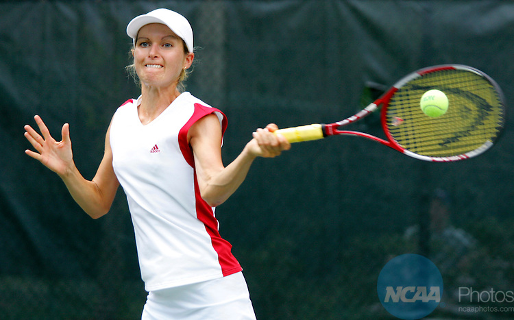 14 MAY 2005:  Adrienn Hegedus of BYU-Hawaii hits a forehand against Dziyana Nazaruk of Armstrong Atlantic State University during the Division II Women's Team Tennis National Championship at Sanlando Park in Orlando, FL.  Hegedus defeated Nazaruk 6-2, 6-0.  Jason Parkhurst/NCAA Photos