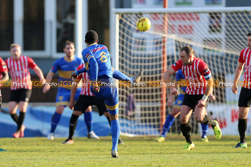 Kai Bichard of Romford hits the post with a long range shot during AFC Hornchurch vs Romford, Ryman League Division 1 North Football at Hornchurch Stadium on 4th February 2017