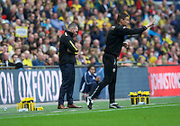 Manager Michael Appleton of Oxford United (left) and Caretaker Head Coach Paul Heckingbottom of Barnsley during the Johnstone's Paint Trophy Final match between Oxford United and Barnsley at Wembley Stadium, London, England on 3 April 2016. Photo by Alan  Stanford / PRiME Media Images.