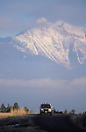 The Mission Mountains in a telephoto view from the National Bison range in western Montana