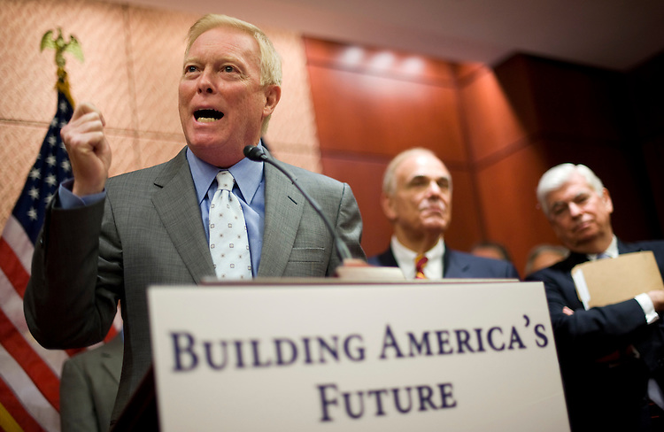 """Former Congressman Richard Gephardt speaks at an event to held by Building America's Future to announce their support for the creation of a National Infrastructure Bank as a """"vehicle for reforms, job creation and infrastructure investment,"""" Jan. 20, 2010, in the CVC.  Gov. Ed Rendell, D-Pa., center, and Sen. Chris Dodd, D-Conn., also attended."""