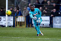 2019-10-19: An FA Cup fourth qualifying round tie was abandoned between Haringey Borough and Yeovil Town after the Haringey manager took his team off the field amid accusations of racism. Haringey Goalkeeper Valery Douglas Pajetat was reportedly spat at and hit by an object thrown from the Yeovil Town end.<br /> IN PHOTO: Haringey Goalkeeper Valery Douglas Pajetat playing against Tonbridge Angels in the Bostik Premier League match played at the Longmead Stadium, Tonbridge.<br /> Photo Liam McAvoy/Prime Media Images