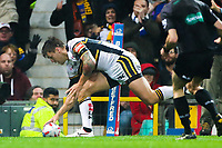 Picture by Alex Whitehead/SWpix.com - 07/10/2017 - Rugby League - Betfred Super League Grand Final - Castleford Tigers v Leeds Rhinos - Old Trafford, Manchester, England - Leeds' Tom Briscoe scores a try.