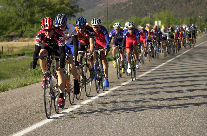 Ned Overend of Durango, Colorado leads the pelaton in the 2002 Iron Horse Bicycle Calssic road race from Durango to Silverton, Colorado.