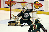 February 24th 2008:  Barry Brust (33) of the Houston Aeros makes a kick save during a game vs. the Rochester Amerks at Blue Cross Arena at the War Memorial in Rochester, NY.  The Aeros defeated the Amerks 4-0.   Photo copyright Mike Janes Photography 2008