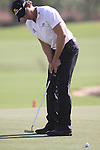 Camilo Villegas takes his putt on the 18th green during the opening round of Day 1 at the Dubai World Championship Golf in Jumeirah, Earth Course, Golf Estates, Dubai  UAE, 19th November 2009 (Photo by Eoin Clarke/GOLFFILE)