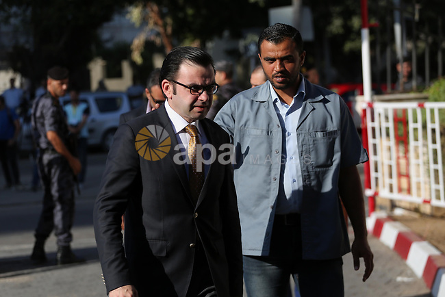 Palestinian Culture Minister, Ehab Bessaiso arrives before a reconciliation cabinet meeting in Gaza City on October 3, 2017. The Palestinian reconciliation government met in Gaza for the first time since 2014 as moves intensifies to end the decision-old rift between the main political factions. Photo by Mohammed Asad