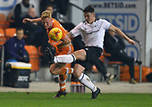 04/12/2018 FA Youth Cup 3rd Round Blackpool v Derby County<br /> <br /> Owen Watkinson battles for possession