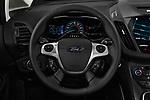 Car pictures of steering wheel view of a 2017 Ford C-Max Hybrid Titanium 5 Door Mini Van