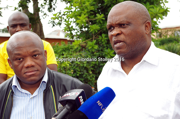 INCHANGA - 4 February 2016 - The  SA Communist Party's KwaZulu-Natal general secretary Themba Mthembu (right) speaks to the media as the African National Congress's KwaZulu-Natal provincial chairman Sihle Zikalala (left)  looks on. The two men conducted a joint visit to the families of slain ANC and SACP members in a bid to reduce tensions between the two parties in Inchanga. Picture: Allied Picture Press/APP