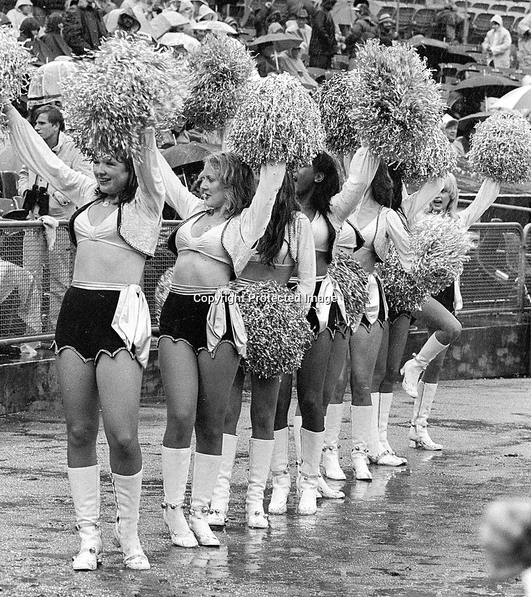 Oakland Raiderettes brave the rain(.1978/photo/Ron Riesterer)