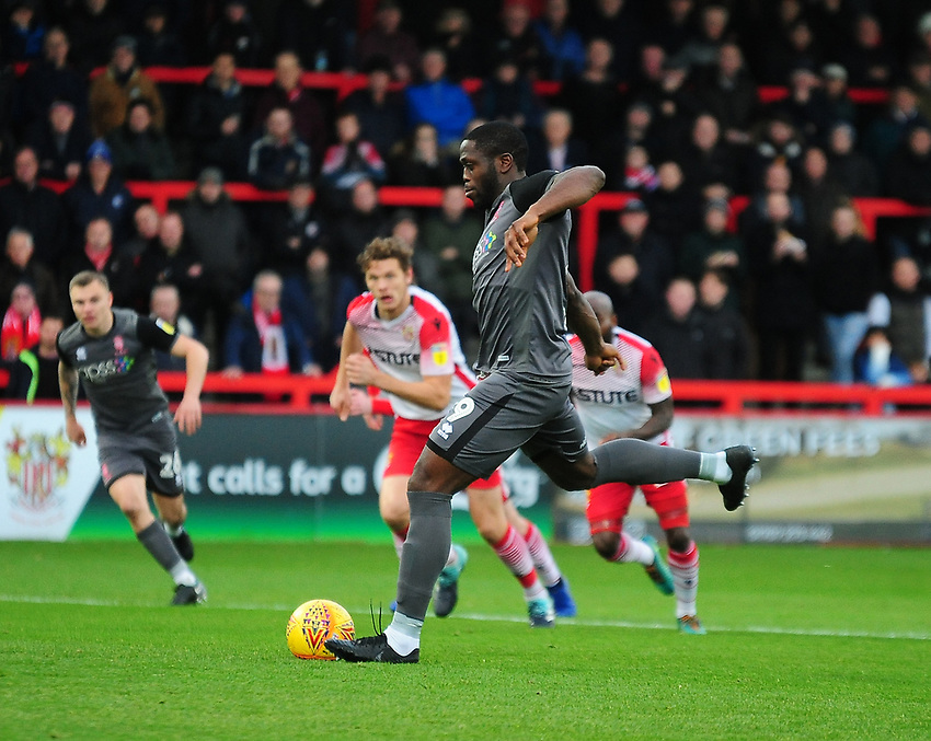 Lincoln City's John Akinde scores the opening goal from the penalty spot<br /> <br /> Photographer Andrew Vaughan/CameraSport<br /> <br /> The EFL Sky Bet League Two - Stevenage v Lincoln City - Saturday 8th December 2018 - The Lamex Stadium - Stevenage<br /> <br /> World Copyright © 2018 CameraSport. All rights reserved. 43 Linden Ave. Countesthorpe. Leicester. England. LE8 5PG - Tel: +44 (0) 116 277 4147 - admin@camerasport.com - www.camerasport.com