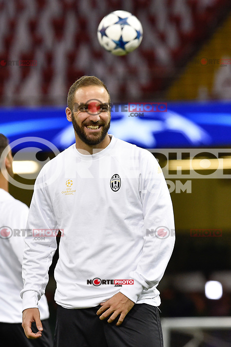 Gonzalo Higuain of Juventus during the training session ahead the UEFA Champions League Final between Real Madrid and Juventus at the National Stadium of Wales, Cardiff, Wales on 2 June 2017. Photo by Giuseppe Maffia.<br /> <br /> Giuseppe Maffia/UK Sports Pics Ltd/Alterphotos /NortePhoto.com