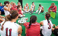 STANFORD, CA - September 19, 2010:  Head Coach Tara Danielson speaks with the team during the Stanford Field Hockey game against Cal in Stanford, California. Stanford lost 2-1.