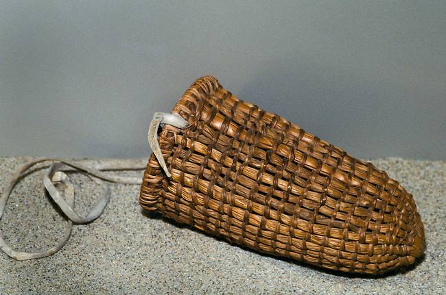 The Ohlone Indians of California traditionally used woven baskets made from tule reeds with a leather strap for the gathering of foods and medicines. Coyote Hills Museum