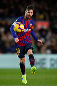 2nd February 2019, Camp Nou, Barcelona, Spain; La Liga football, Barcelona versus Valencia; Lionel Messi of FC Barcelona passes the ball forward