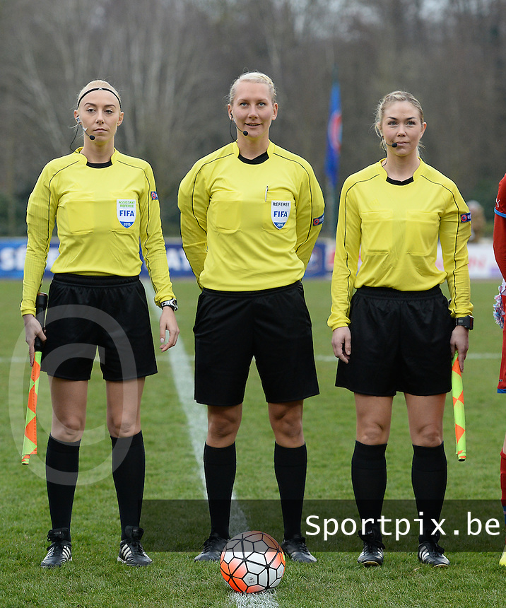 20160319 - FLERS , FRANCE : referee Tess Olofsson (M) with assistant referees Josefin Aronsson (R) and Patricia Samsudean (L) pictured during the soccer match between the women under 17 teams of  France and the Czech Republic , on the first matchday in group 3 of the UEFA Women Under17 Elite rounds at Stade du Haze in Flers , France . Saturday 19th March 2016 . PHOTO DAVID CATRY