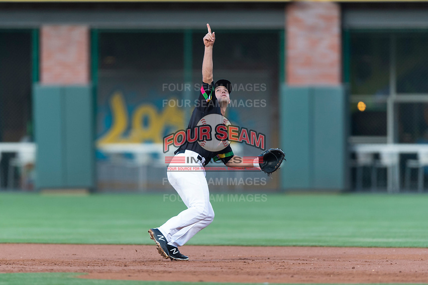 El Paso Chihuahuas first baseman Jason Vosler (28) during a Pacific Coast League game against the Albuquerque Isotopes at Southwest University Park on May 10, 2019 in El Paso, Texas. Albuquerque defeated El Paso 2-1. (Zachary Lucy/Four Seam Images)