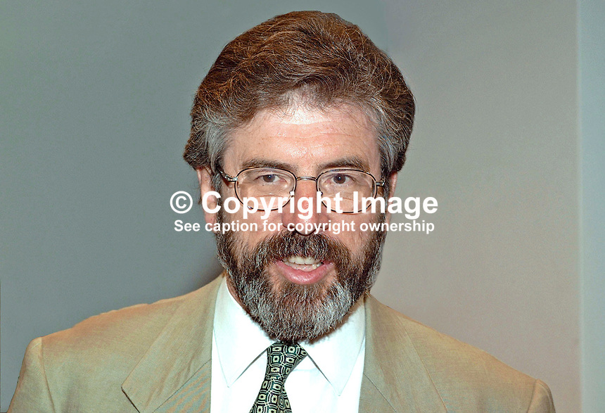 Gerry Adams, president, Provisional Sinn Fein. MLA in the new N Ireland Assembly. MP in the UK Parliament. Ref: 2001051669..Copyright Image from Victor Patterson, 54 Dorchester Park, Belfast, UK, BT9 6RJ..Tel: +44 28 9066 1296.Mob: +44 7802 353836.Voicemail +44 20 8816 7153.Skype: victorpattersonbelfast.Email: victorpatterson@mac.com.Email: victorpatterson@ireland.com (back-up)..IMPORTANT: If you wish to use this image or any other of my images please go to www.victorpatterson.com and click on the Terms & Conditions. Then contact me by email or phone with the reference number(s) of the image(s) concerned.
