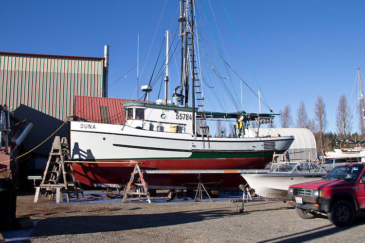 Fishing boat, Duna, Port Townsend, Port of Port Townsend, Boat Haven, classic salmon troller hauled out on the hard for maintenance, winter, Puget Sound, Jefferson County, Washington State, Pacific Northwest,
