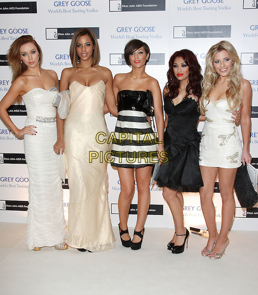 UNA HEALY, ROCHELLE WISEMAN,  FRANKIE SANDFORD, VANESSA WHITE & MOLLIE KING of The Saturdays.The Grey Goose Character & Cocktails Ball, Gorsvenor House Hotel, London, England..December 13th, 2009.full length black strapless dress gold white cream maxi dress hand on hip striped stripes .CAP/ROS.©Steve Ross/Capital Pictures.