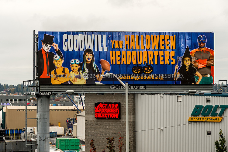10/28/2015 &mdash; Seattle, Washington, USA<br /> <br /> A billboard on Ballard Bridge in Seattle, WASH., advertises Goodwill&rsquo;s Halloween offerings to drivers along Seattle&rsquo;s 15th Avenue.<br /> <br /> <br /> CREDIT: Stuart Isett for The Wall Street Journal<br /> Slug: GOODWILL