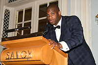 Daniel Dubois speaks during the Boxing Writers Club Annual Dinner at the Savoy Hotel on 7th October 2019
